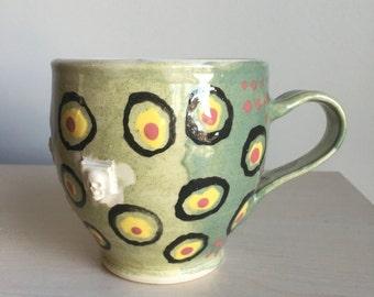 Handmade wheel thrown ceramic Mug w marbled interior