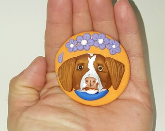 Polymer clay Brittany dog magnet
