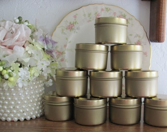 Party Favor Tins, Small Gold Tins, Party Supplies, DIY Candy Tins, Craft Tins, Candle Making Supplies, Candle Tins