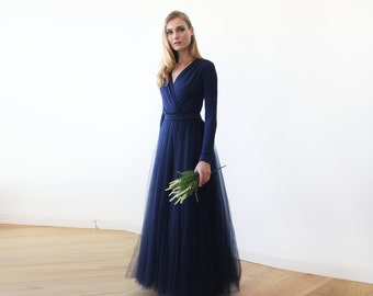 Navy Blue maxi length tulle gown with long sleeves , Navy blue bridesmaids tulle gown 1066