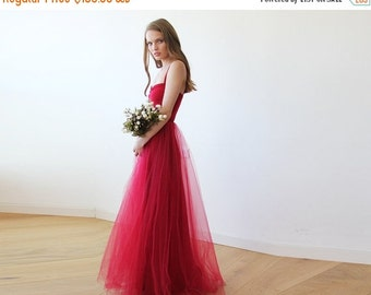 Oscar Sale Bordeaux maxi tulle ballerina gown, Sweetheart maxi tulle dress, Romantic red tulle gown 1061