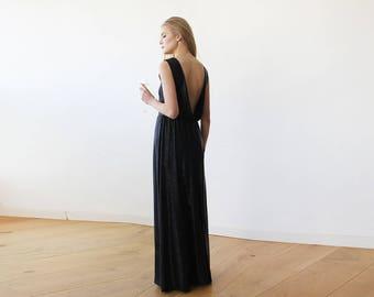 Backless Sleeveless Metallic Black Maxi Dress 1127