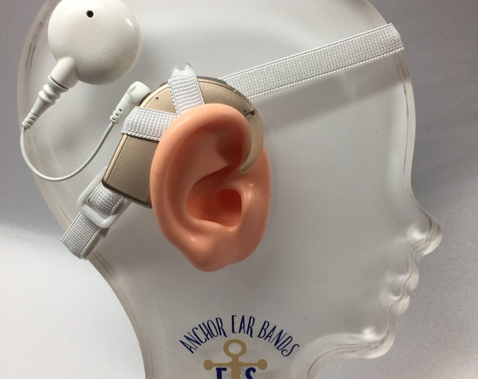 White - Cochlear Implant Heaband - Adjustable Length - Silicone Grip Sleeve - Non Slip Grip  - Unilateral, Bilateral, Bimodal options