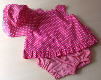 Baby girl dress size 1 hot pink spot perfect for summer and picnics handmade and unique