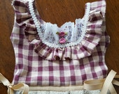 Country Plaid Burgundy and Beige Oven Door Kitchen Dish Towel Dress