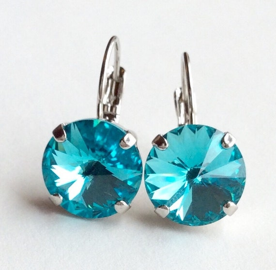 Swarovski Crystal 12MM Drop Earrings Classy & Feminine - Lt. Turquoise - Or Choose Your Favorite Color and Finish - FREE SHIPPING