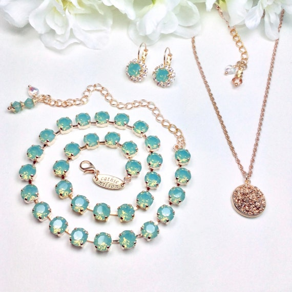 Swarovski Crystal 8.5mm Pacific Opal Necklace and Gorgeous 16mm Golden Druzy Pendant and Halo Earrings - Designer Inspired - FREE SHIPPING