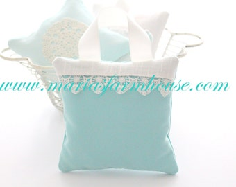 Aromatherapy, Turquoise, Aqua French Dried Hanging Lavender Sachet with French Vintage Lace Edge Linen