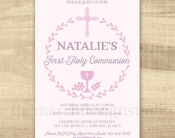 Digital Printable or Printed First Communion Invitation - Blue Pink - Boy or Girl First Holy Communion