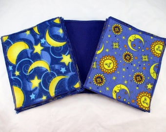 Flannel Family Cloth / Washable TP / Baby Wipes - 25 Single Ply - Celestial Prints, Moon, Stars, Royal Blue, Yellow - Dees Transformations