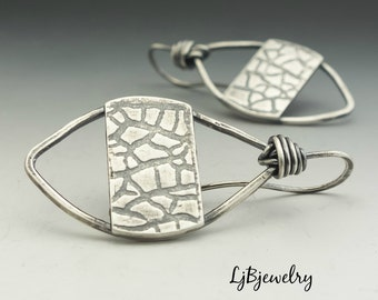 Silver Dangle Earrings,  Tribal Earrings, Sterling Silver, Metalsmith, Metalwork, Handmade, Artisan Jewelry