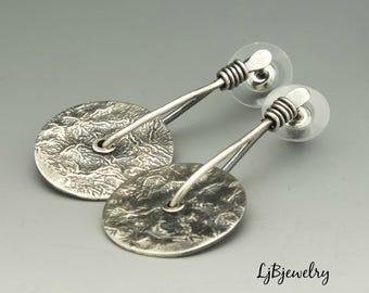 Sterling Silver Earrings, Dangle Earrings, Drop Earrings, Stud Earrings, Statement Earrings, Metalsmith, Handmade, Artisan Jewelry