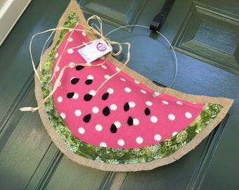 Watermelon Slice Burlap Door Hanger