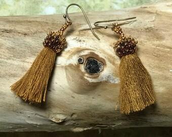 Tassel Earrings Bead Tassel Earrings Gold Tassel Earrings Bead Fringe Earrings Seed Bead Earrings Beading Tassel Tassel Jewelr
