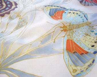 Small silk scarf hand painted butterlies summer accessory wearable art - ready to ship