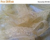 ON SALE 5 Yds Gorgeous Delicate Antique Lace Trim  | Lemon Cream | Pastel Yellow