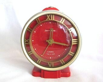 Vintage Russian red alarm clock Jantar 4 jewels
