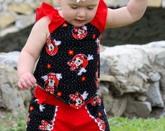 Minnie Mouse Red Black Dot Minnie Coachella Shorts Kite Swing Top Outfit