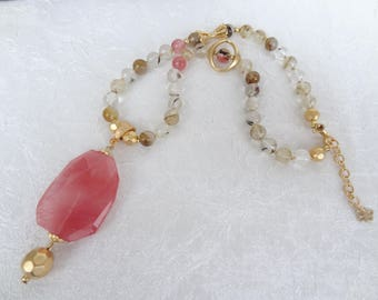ROSE QUARTZ Necklace,Stone Jewelry,Women Fashion,Gold Necklace,Rose Quartz Pendant,Elegant Jewelry,OOAK,Bridal Necklace, Mother's Day Gift