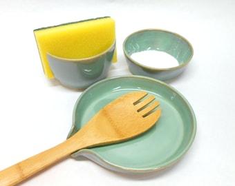 Pottery Kitchen Set in Turquoise Spoon Rest Sponge Holder Salt Bowl Pinch Pot Nut Bowl Ring Dish Wedding Gift House Warming Gift