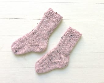 Hand Knit Socks Newborn Baby Girl 0 to 6 months Old Pink Tweed Wool Woolen Socks