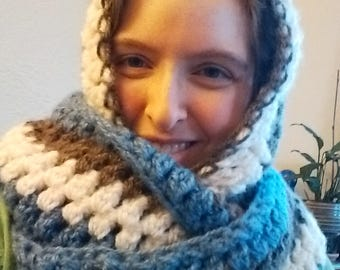Super warm hooded scarf