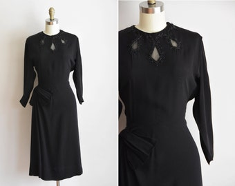 1940s Night in the City dress / vintage 40s rayon dress/ black beaded party dress