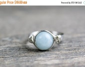 Valentines Day Sale Aquamarine Ring, Stone Ring, Sterling Silver Filled Ring, Wire Wrapped Ring