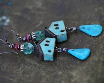 Rustic Romantic 'Village Sous La Lune'Artisan earrings n269 - Tribalis original . Turquoise stone ceramic house  boho bohemian house jewelry