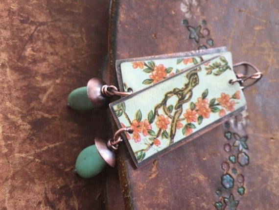 Rustic Tin Chinese stamp earrings n a21 . recycled tin . copper . chinese garden . copper boho bohemian . floral tin . long flower branches