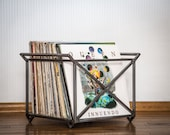"""12"""" Vinyl LP record storage metal crate // minimalistic container with two handles // container holds 70 LP records // free shipping"""