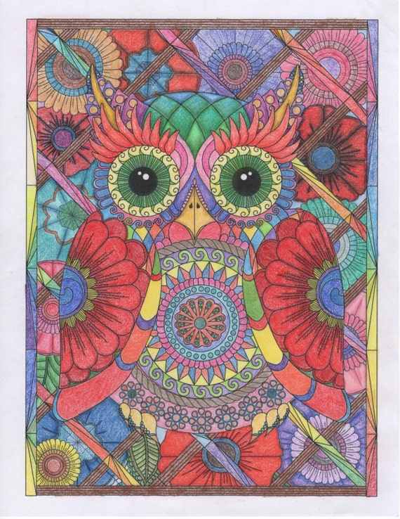 Owl And Flowers Advanced Adult Coloring Page Digital Download Stress