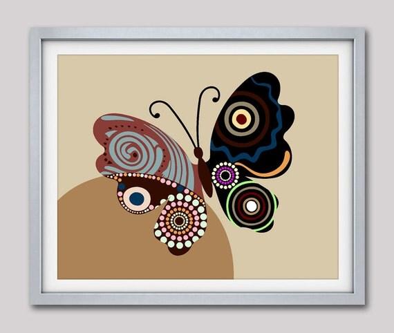 Butterfly Decor, Butterfly Art Print, Butterfly Print, Butterfly Poster, Butterfly Gift,  Butterfly Wall Art Decor Brown
