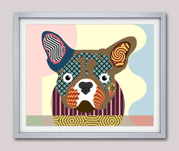 French Bull Dog Art,  French Bull Dog Gifts, French Bull Dog Decor, French Bull Dog Poster Print, Funny Dog, Pop Art Dog