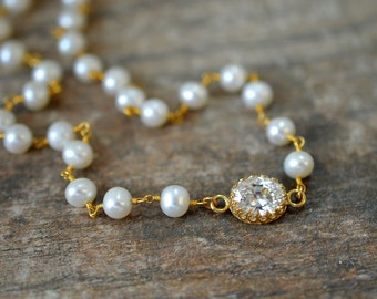 Delicate pearl choker Rosary chain pearl necklace CZ cubic zirconia choker Dainty gold necklace Bridal wedding jewelry for bride
