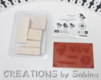 Stampin Up Wooden Stamps Set of 5 Happy Together Unmounted Birds Flower Retired Cute Three Birds Chicks Baby Birds  (64)