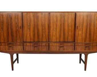 Danish Mid Century Modern Tall Brazilian Rosewood Credenza