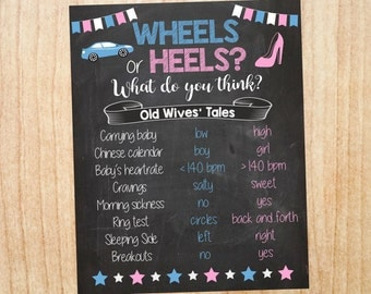 Wheels or Heels Old Wives' Tales sign PRINTABLE Gender Reveal Guess baby shower chalkboard poster boy or girl