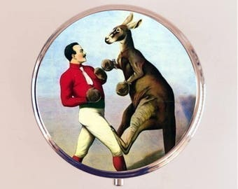 Kangaroo Boxer Pill Box Case Pillbox Holder Trinket Stash Box Boxing Circus Oddity