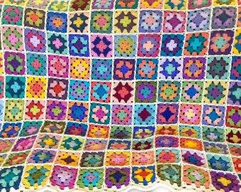 Crochet afghan handmade crochet blanket kaleidoscope blanket 50 x 64 inches, MADE TO ORDER