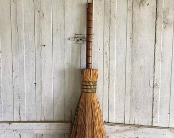 Rustic Hearth Broom, Primitive Straw Broom, Fireplace Accessory, Farmhouse Decor, Cabin Decor,, Long Handled Broom