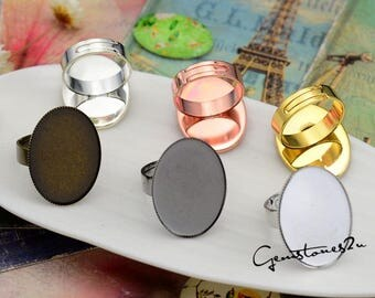 10pcs Adjustable Ring Blank with 30x40mm Base Setting, Glass Domes Ring Settings, Ring Base W/ Jagged 30x40mm Oval Bezel Setting -- 6 Colors