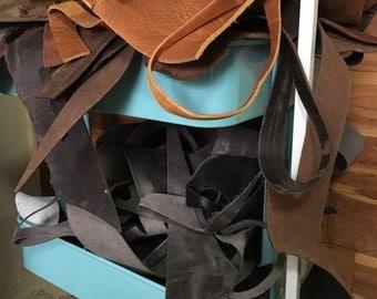 Leather Scraps, Large Leather Pieces, Leather De-Stash, USPS Priority Medium Box