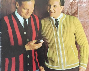Vintage Fashions for Men and Boys by Columbia Minerva Book No. 749 Pattern Crochet Knit PDF Download Sweater, Vest, Cardigan, Polo