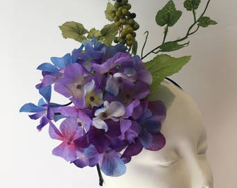 Purple Fascinator- Purple Derby Hat- Derby Fascinator- Floral Headpiece- Kentucky Derby- Flower Fascinator - Polo Fascinator- Hydrangea Hat