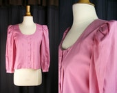1980s Victorian Style Pink Cotton Blouse - Puffed Sleeves - Dusty Rose Pink Top - Long Sleeves Shirt (small medium)