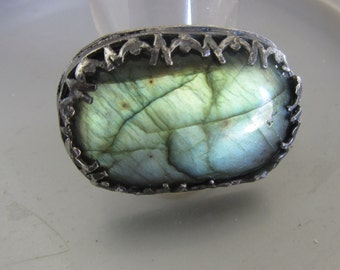 Large Labradorite ring - Sterling Silver stone Ring - Size 8 1/2