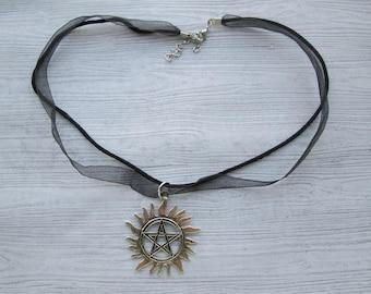 Collar de pentáculo, collar de pentagrama, colgante pagana, Wicca colgante, collar wiccan, collar pagano, Supernatural colgante, pentáculo pendan