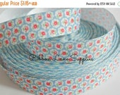 """Birthday Sale 7/8"""" Ribbon by the Yard-Vintage Shabby Chic Red pink blue roses-Hair bows sewing crafts WHolesale by Ribbon Lane Supplies"""