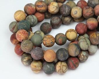 Natural Matte Red Creek Jasper Beads, 8mm Round - 15 inch Strand - eGR-JA442-8